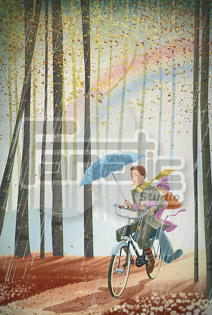 Illustration of couple riding bicycle in forest