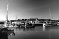 The Crinan Canal at Crinan Basin looking on to the Sound of Jura, Argyll & Bute