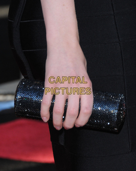 TALULAH RILEY's clutch bag .at the Warner Bros. Film Premiere of 'Inception' held at The Grauman's Chinese Theatre in Hollywood, California, USA, July 13th 2010..detail black beaded sparkly hand .CAP/RKE/DVS.©DVS/RockinExposures/Capital Pictures.