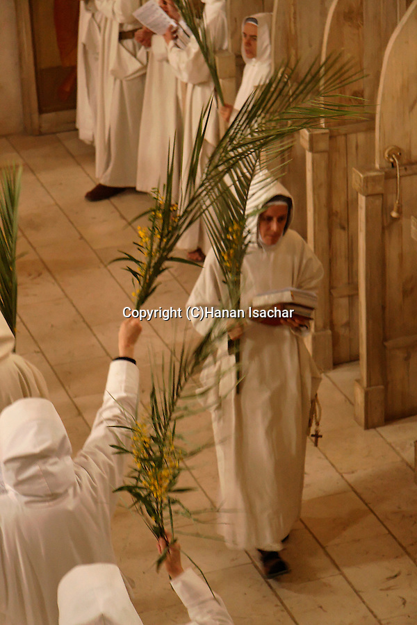 Easter, Le Dimanche des Rameaux (Palm Sunday) holiday at the Monastery of the Sisters of Bethlehem of the Assumption of the Virgin and of Saint Bruno in Beth Gemal, Israel<br />