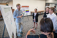 "Henrik De La Torre presents, ""A Relationship, not a Resource: Examining the Values of Place at La Selva Biological Station""<br /> Mentor: Clair Morrissey, Philosophy<br /> Occidental College's Undergraduate Research Center hosts their annual Summer Undergraduate Research Conference on July 31, 2019. Student researchers presented their work as either oral or poster presentations at this final conference. The program lasts 10 weeks and involves independent research in all departments.<br /> (Photo by Marc Campos, Occidental College Photographer)"