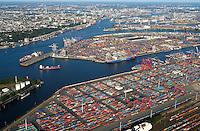 4415/Windkraft: EUROPA, DEUTSCHLAND, HAMBURG 09.09.2004: Containerhafen Hamburg, HHLA Burchardkai, Eurokai,   Luftbild,  Luftansicht