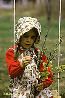 PW12-015z  Child with pussy willows - Salix discolor