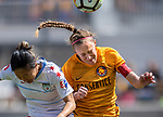 Utah Royals FC defender Becky Sauerbrunn (4) heads the ball against Chicago Red Stars forward Yuki Nagasato (12) in the second half Saturday, April 14, 2018, during the National Woman Soccer League game at Rio Tiinto Stadium in Sandy, Utah. (© 2018 Douglas C. Pizac)