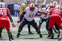College Park, MD - April 27, 2019:  Maryland Terrapins offensive lineman Evan Gregory (52) makes a block during the spring game at  Capital One Field at Maryland Stadium in College Park, MD.  (Photo by Elliott Brown/Media Images International)