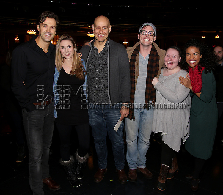 Broadway debuts: Michael Xavier, Siobhan Dillon, Fred Johanson, Sean Thompson, Katie Ladner and Britney Coleman attend the Actors' Equity Opening Night Gypsy Robe Ceremony for 'Sunset Boulevard'  honoring Matt Wall at the Palace Theatre Theatre on February 9, 2017 in New York City.