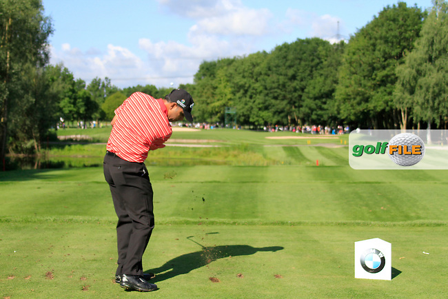 Jeev Milkha Singh (IND) tees off on the par3 12th tee during Day 2 of the BMW International Open at Golf Club Munchen Eichenried, Germany, 24th June 2011 (Photo Eoin Clarke/www.golffile.ie)