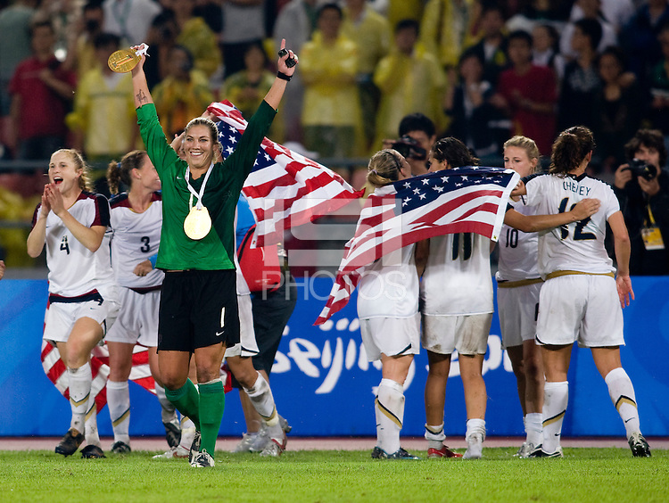 USWNT goalkeeper Hope Solo celebrates the win with her teammates after playing for the gold medal at Workers' Stadium.  The USWNT defeated Brazil, 1-0, during the 2008 Beijing Olympic final in Beijing, China.