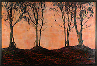 Mixed media ancaustic painting of forest. Photo transfer over sunset sky encaustic painting.