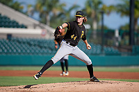 Pittsburgh Pirates pitcher Braeden Ogle (44) delivers a pitch during a Florida Instructional League game against the Detroit Tigers on October 6, 2018 at Joker Marchant Stadium in Lakeland, Florida.  (Mike Janes/Four Seam Images)