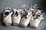 HAVANA, CUBA - JANUARY 2: Close up of ballet shoes at the Center Prodanza of Cuba, a Cuban ballet school in Havana, Cuba on January 2, 2014.  The Cuban National Ballet has become recognised as one of the world's leading ballet companies.