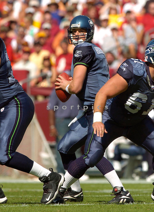 Matt Hasselbeck, of the Seattle Seahawks, during their game against the Washington Redskins on October 2, 2005...Redskins win 20-17...David Durochik / SportPics