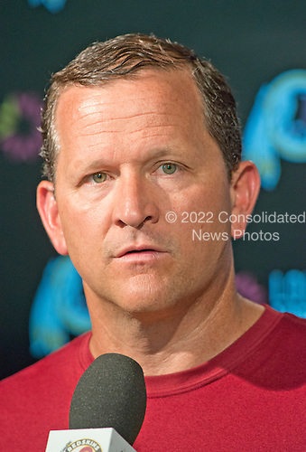 Washington Redskins defensive coordinator Joe Barry meets the media following an organized team activity (OTA) at Redskins Park in Ashburn, Virginia on Wednesday, June 1, 2016.<br /> Credit: Ron Sachs / CNP
