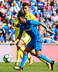 Getafe CF's Angel Rodriguez (r) and Villarreal CF's Rodrigo Hernandez during La Liga match. September 24,2017. (ALTERPHOTOS/Acero)