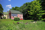 American flag painted on the side of a barn, Morrill, Waldo County, Maine, USA.