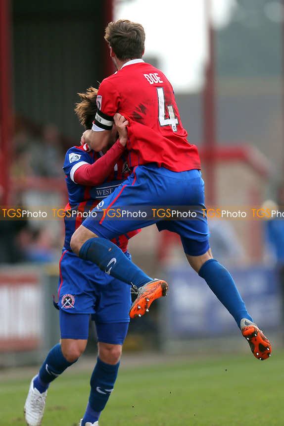 Scott Doe of Dagenham is congratulated after scoring the second goal during Dagenham & Redbridge vs Forest Green Rovers, Vanarama National League Football at the Chigwell Construction Stadium on 11th March 2017
