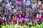 """© Joel Goodman - 07973 332324 . No syndication permitted . 29/09/2013 . Manchester , UK . A Unison lead demonstration titled """" Save our NHS """" through Manchester City Centre today (Sunday 29th September 2013) coinciding with the Conservative Party Conference in the city . Photo credit : Joel Goodman"""