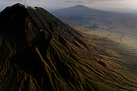 Aerials of active volcano near Empakaii crater.