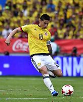 BARRANQUILLA – COLOMBIA - 23 – 03 -2017: James Rodriguez, jugador de Colombia en accion, durante partido entre los seleccionados de Colombia y Bolivia, de la fecha 13 válido por la clasificación a la Copa Mundo FIFA Rusia 2018, jugado en el estadio Metropolitano Roberto Melendez en Barranquilla. / James Rodriguez, player of Colombia in action, during match between the teams of Colombia and Bolivia, of the date 13 valid for the Qualifier to the FIFA World Cup Russia 2018, played at Metropolitan stadium Roberto Melendez in Barranquilla. Photo: VizzorImage / Luis Ramirez / Staff.