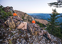 Outdoor Life Editor Andrew McKean and Mike Stock hunt mule deer hunt on Greyback Ridge in the Hoeback Drainage of Wyoming Region H, outside of Alpine, Wyoming, September 21, 2015.<br /> <br /> Photo by Matt Nager