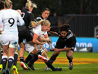 England's Alex Matthews is tackled during the 2017 International Women's Rugby Series rugby match between the NZ Black Ferns and England Roses at Rotorua International Stadium in Rotorua, New Zealand on Saturday, 17 June 2017. Photo: Dave Lintott / lintottphoto.co.nz