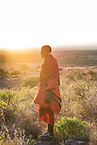 TANZANIA, Maasai man during sunrise in Shumata Camp, Arusha National Park