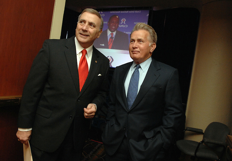 Actor Martin Sheen, right, waits backstage at the Washington Hilton with Credit Union National Association (CUNA) president and former congressman Daniel Mica, at the CUNA Governmental Affairs Conference.  Sheen addressed 4,200 credit union leaders.
