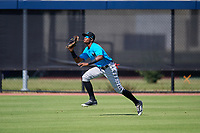 Miami Marlins outfielder Yoelvis Sanchez (87) during practice before an Instructional League game against the Washington Nationals on September 26, 2019 at FITTEAM Ballpark of The Palm Beaches in Palm Beach, Florida.  (Mike Janes/Four Seam Images)