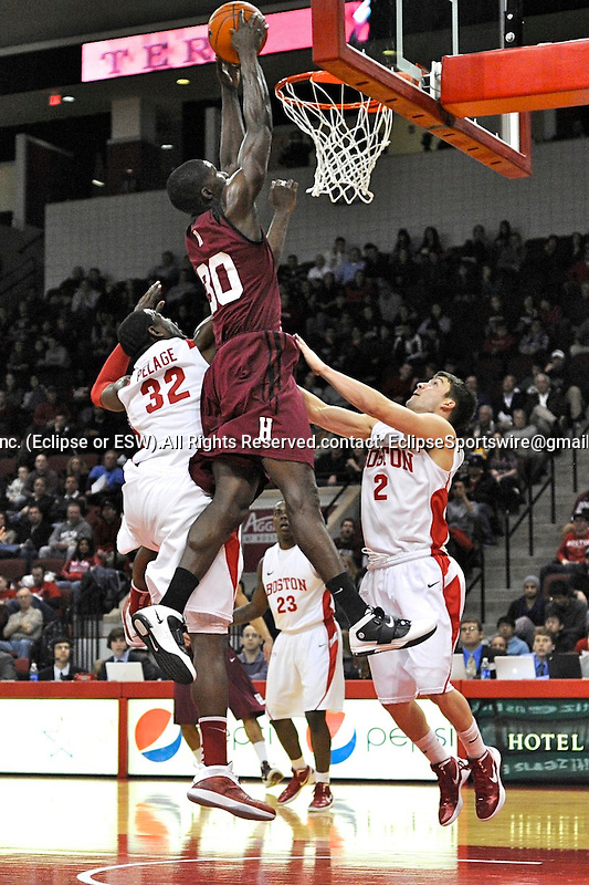 Harvard's Kyle Casey (no. 30) in action during the 24th ranked Crimson's 76-52 victory over Boston University on December 10, 2011 at Agganis Arena in Boston, Massachusets.  (Bob Mayberger/Eclipse Sportswire)