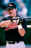 Rafael Palmeiro of the Baltimore Orioles plays in a baseball game at Edison International Field during the 1998 season in Anaheim, California. (Larry Goren/Four Seam Images)