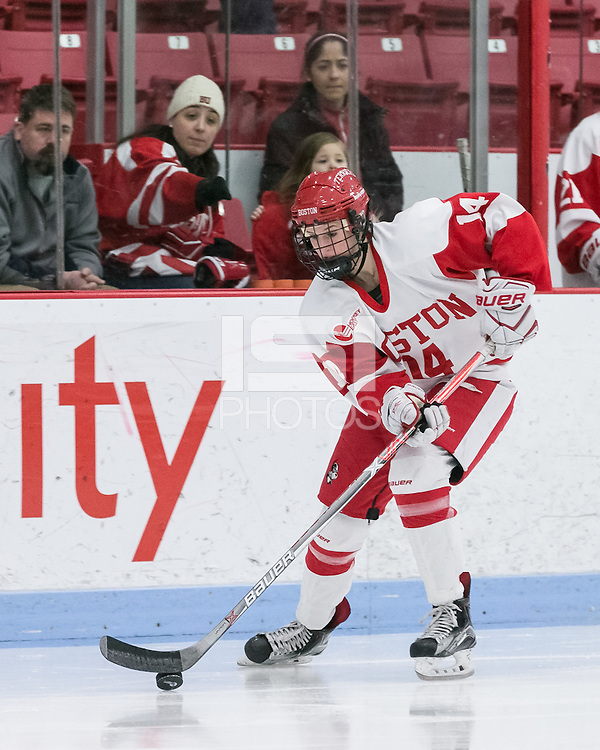 Boston, Massachusetts - February 11, 2017: NCAA Division I. Boston University (white) defeated University of New Hampshire (blue), 5-2, at Walter Brown Arena.