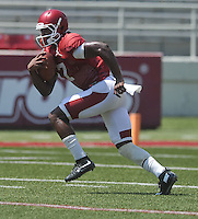 NWA Democrat-Gazette/MICHAEL WOODS &bull; @NWAMICHAELW<br /> University of Arkansas receiver Damon Mitchell runs drills during practice Saturday, August 15, 2015 at Razorback Stadium in Fayetteville.