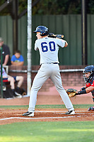 Pulaski Yankees first baseman Eric Wagaman (60) awaits a pitch during a game against the Elizabethton Twins at Joe O'Brien Field on June 27, 2016 in Elizabethton, Tennessee. The Yankees defeated the Twins 6-4. (Tony Farlow/Four Seam Images)