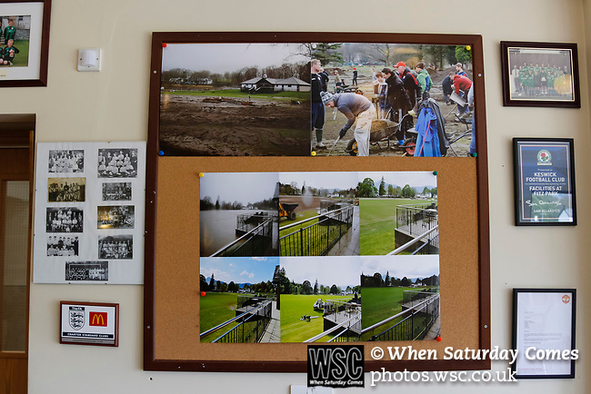 Keswick 1 Kendal 1, 15/04/2017. Fitz Park, Westmoreland League. Photographs in the clubhouse showing the flooding caused  by Storm Desmond in December 2015. Photo by Paul Thompson.
