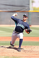 Luke Taylor #44 of the Seattle Mariners plays in an extended spring training game against the Cleveland Indians at the Indians minor league complex on May 14, 2011  in Goodyear, Arizona. .Photo by:  Bill Mitchell/Four Seam Images.