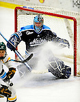 29 January 2010: University of Maine Black Bears' goaltender Scott Darling, a Sophomore from Lemont, IL, in third period action against the University of Vermont Catamounts at Gutterson Fieldhouse in Burlington, Vermont. The Black Bears defeated the Catamounts 6-3 in the first game of their America East weekend series. Mandatory Credit: Ed Wolfstein Photo