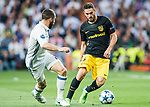 Jorge Resurreccion Merodio, Koke (r), of Atletico de Madrid battles for the ball with Daniel Carvajal Ramos of Real Madrid during their 2016-17 UEFA Champions League Semifinals 1st leg match between Real Madrid and Atletico de Madrid at the Estadio Santiago Bernabeu on 02 May 2017 in Madrid, Spain. Photo by Diego Gonzalez Souto / Power Sport Images