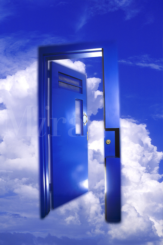 Heaven's Gate, new blue prison door opening to clouds. A conceptual digital composite image.