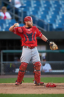 Louisville Bats catcher Chris Berset (10) during a game against the Syracuse Chiefs on June 6, 2016 at NBT Bank Stadium in Syracuse, New York.  Syracuse defeated Louisville 3-1.  (Mike Janes/Four Seam Images)