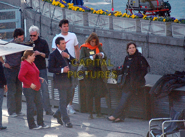 "RICHARD EYRE, Director & ANTONIO BANDERAS.""The Other Man"" filming in Cernobbio, Como's Lake, Cernibbio, Italy..March 7th, 2008.movie set shooting full length blue suit jacket  .CAP/ADM/Liverani/EG.©Elena Gaffuri/Liverani/AdMedia/Capital Pictures"