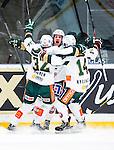 Stockholm 2014-01-18 Ishockey SHL AIK - F&auml;rjestads BK :  <br /> F&auml;rjestads Martin R&ouml;ymark jublar med F&auml;rjestads Magnus Nygren och F&auml;rjestads Oliver Kylington efter sitt 3-2 m&aring;l<br /> (Foto: Kenta J&ouml;nsson) Nyckelord:  jubel gl&auml;dje lycka glad happy