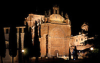 "General view of Convent of St. Stephen, Salamanca, Spain, pictured on December 19, 2010 at night, floodlit.  Commissioned by order Juan Alvarez de Toledo, Bishop of Cordoba, and designed by Juan de Alava, the church was built 1525-1618. The main portal, c.1660, has a row of decorated arches and a tympanum with a relief of the ""Martyrdom of St. Stephen"", by Juan Antonio Ceroni. Above it is a frieze in Italian style, depicting Calvary crowned by the Eternal Father. Salamanca, an important Spanish University city, is known as La Ciudad Dorada (""The golden city"") because of the unique golden colour of its Renaissance sandstone buildings. Founded in 1218 its University is still one of the most important in Spain. Around it the Old Town is a UNESCO World Heritage Site. Picture by Manuel Cohen"