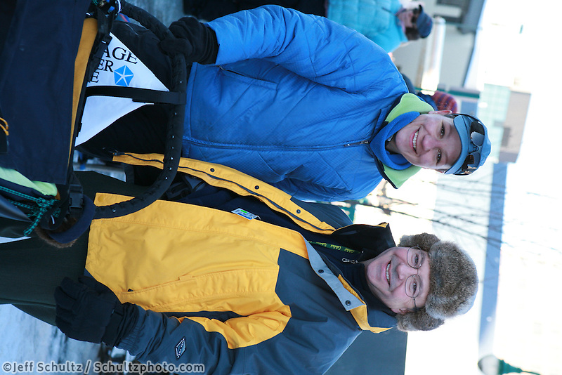 Musher Silvia Willis, Bib 34 with Iditarider Charles Allen III, Anchorage 2007 Start Iditarod Alaska