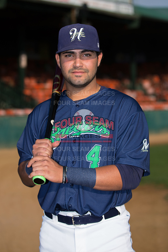 Gabriel Garcia (4) of the Helena Brewers poses for a photo prior to the game against the Orem Owlz at Kindrick Legion Field on August 17, 2017 in Helena, Montana.  The Owlz defeated the Brewers 5-2.  (Brian Westerholt/Four Seam Images)