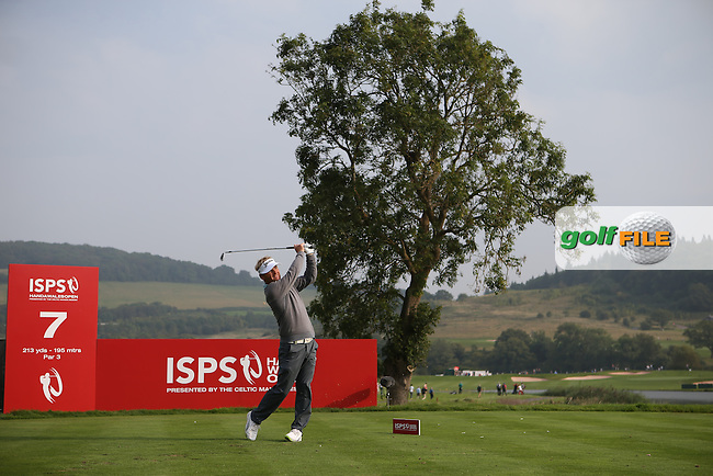 Soren Kjeldsen (DEN) plays from the idyllic 7th tee during Round One of the ISPS Handa Wales Open 2014 from the Celtic Manor Resort, Newport, South Wales. Picture:  David Lloyd / www.golffile.ie