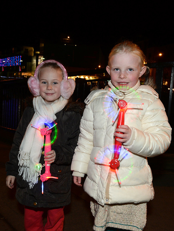 Katie Flemming and Ella Carolan pictured at the fireworks display at Scotch Hall. Photo:Colin Bell/pressphotos.ie