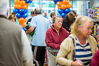 Thursday  28 July 2014<br /> Pictured: First Customers enter the store Re: ALDI Merthyr Tydfill Grand Re-opening