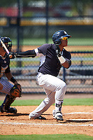 GCL Yankees West designated hitter Ozzie Liranzo (19) at bat during a game against the GCL Yankees East on August 3, 2016 at the Yankees Complex in Tampa, Florida.  GCL Yankees East defeated GCL Yankees West 12-2.  (Mike Janes/Four Seam Images)