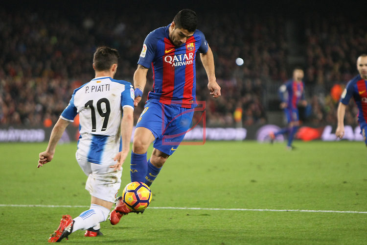 League Santander 2016/2017. Game: 16.<br /> FC Barcelona vs RCD Espanyol: 4-1.<br /> Pablo Piatti vs Luis Suarez.