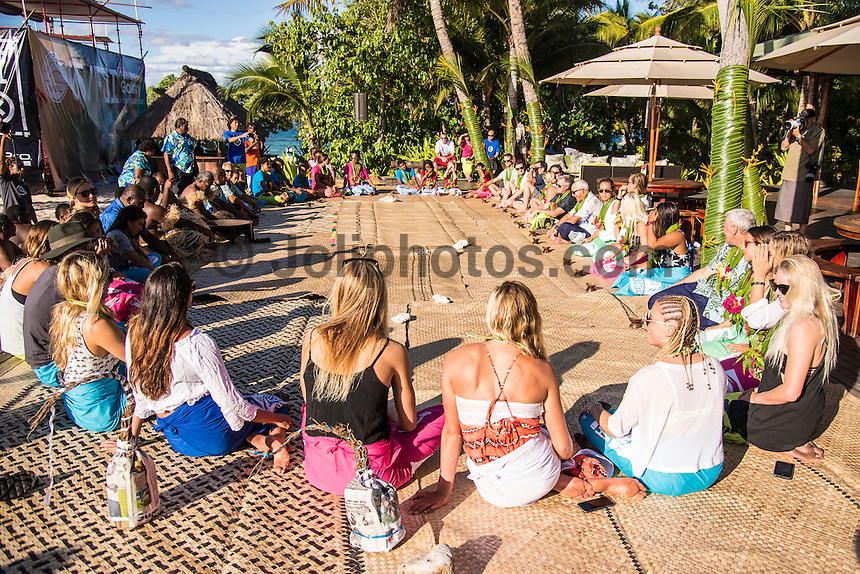 Namotu Island, Fiji (Saturday, May 30, 2015) - The world&rsquo;s best female surfers have arrived in the remote South Pacific for the fifth stop of the 2015  WSL Championship Tour (CT), the Fiji Women&rsquo;s Pro, scheduled from May 31 - June 5, 2015.<br /> The Top 17 were welcomed today on the island of Tavarua with a traditional Kava Ceremony.<br /> The event will be held at the world-class reef passes of Cloudbreak and Restaurants on the best days of surf during the waiting period.<br /> Two-time World Champion Carissa Moore (HAW) heads into the event as World No. 1  following sensational run of form in 2015, claiming back-to-back wins at the opening events of the year on the Gold Coast and at Bells Beach as well as a 2nd and a 3rd in Margaret River and Rio de Janeiro respectively. <br /> Moore will face wildcard and reigning WSL Women&rsquo;s Junior Champion, Mahina Maeda (HAW), in Round 1 along with Dimity Stoyle (AUS), who knocked Moore out in the Quarterfinals in Fiji last year. Photo: joliphotos.com